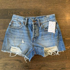 Free People Sofia Button-Fly Jean Shorts - Size 24